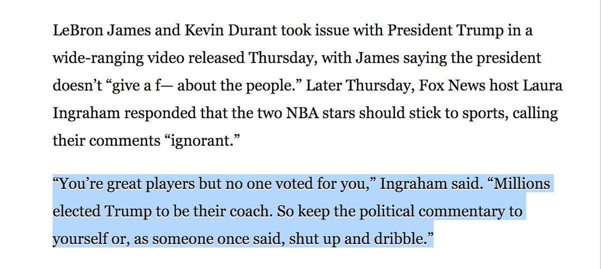 b27a612ecaa1 Fox s Laura Ingraham says LeBron James should  shut up and dribble