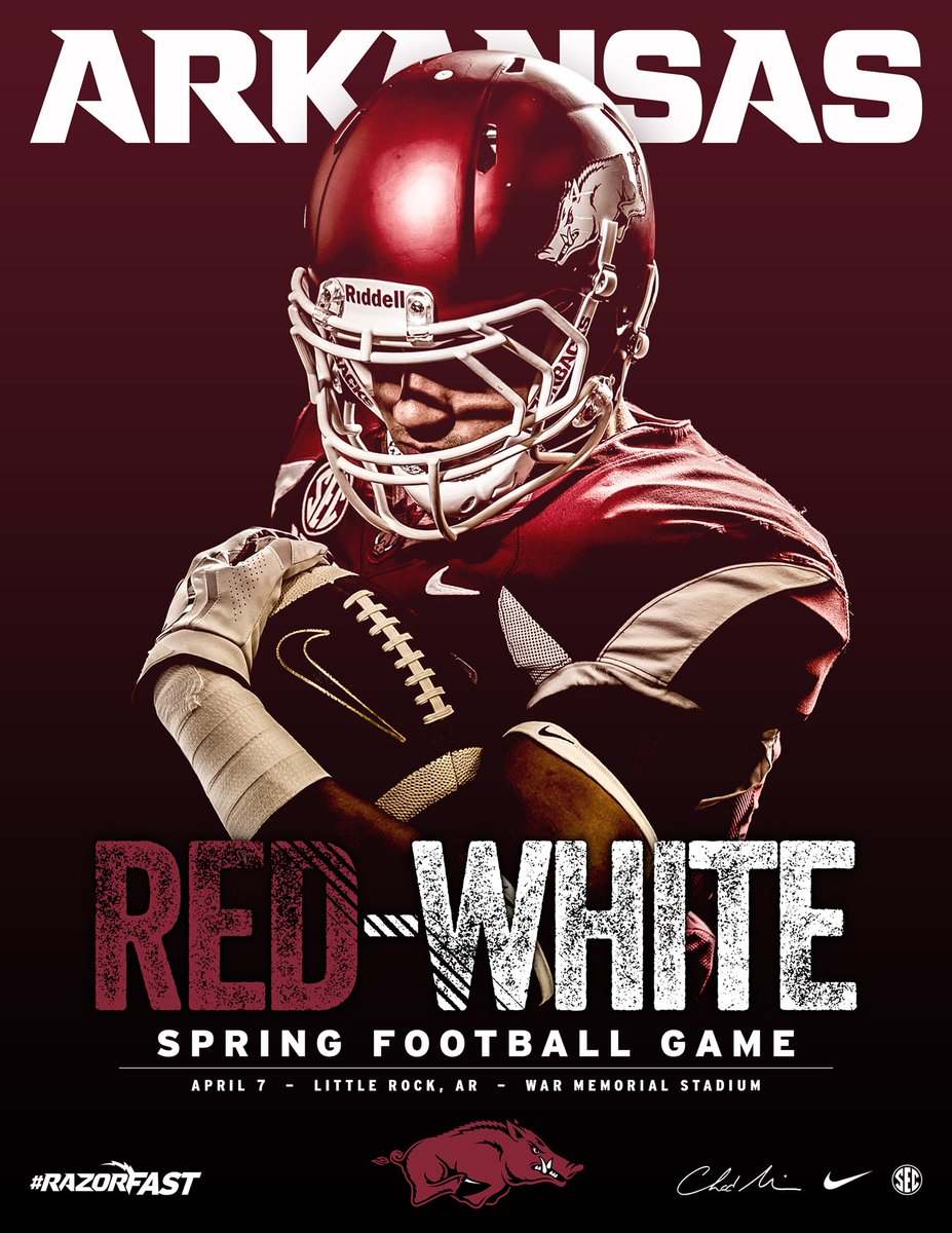 Red White Spring Game Poster
