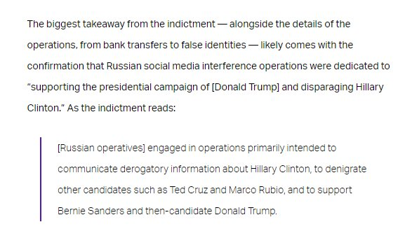 Here are the highlights from the bombshell indictments the special counsel just issued, from Russian operatives communicating with Americans to pushing support for Trump - as well as for Bernie Sanders and @DrJillStein: thinkprogress.org/indictment-doj…