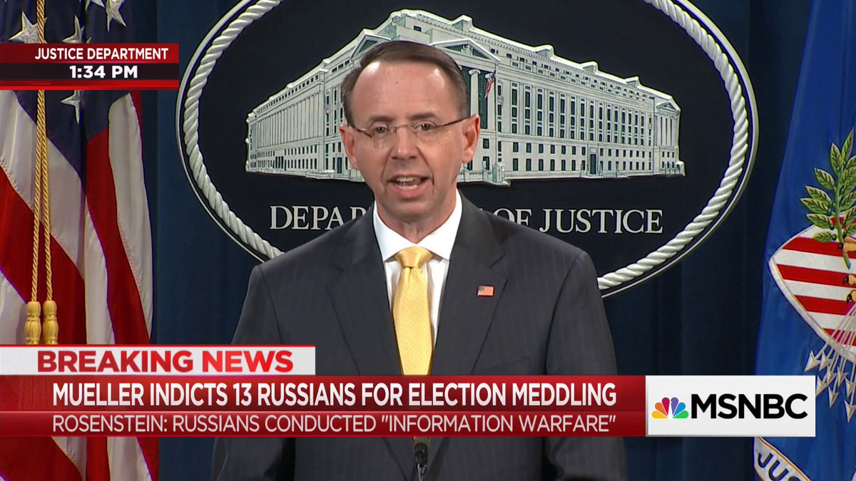 Deputy Atty. General Rod Rosenstein says the indictment does not allege that any American was a 'knowing participant' in Russian meddling.  Tune in to @MSNBC for ongoing analysis of the Russian indictments
