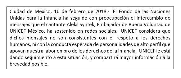 Pronunciamiento de UNICEF México sobre t...