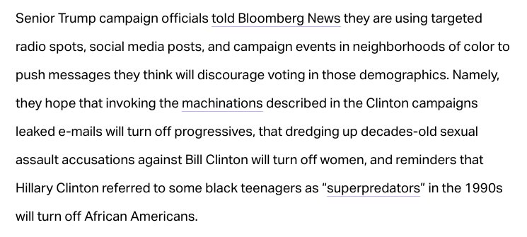 And never forget that this is also EXACTLY the tact the Trump Campaign was taking to suppress the black vote? Coincidence? Hmmm..https://t.co/pHTpFzoFFa.