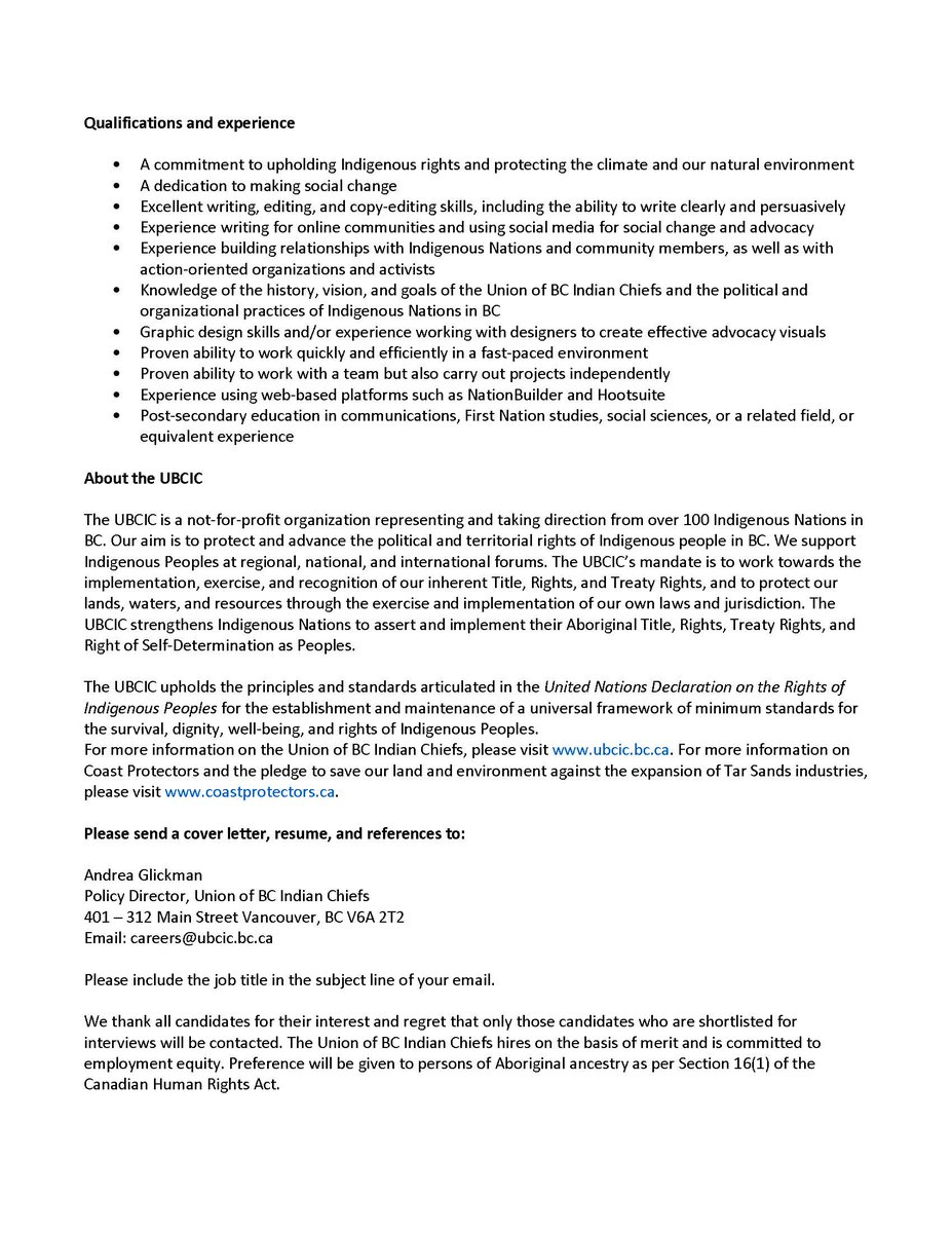 UBCIC On Twitter Extended Posting Communications Coordinator