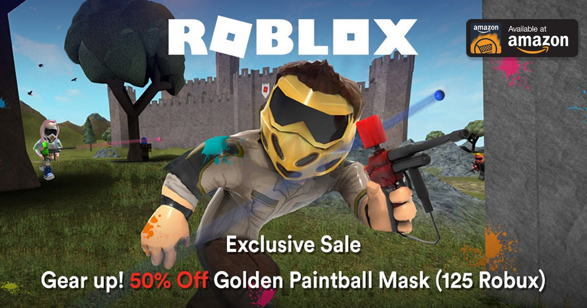 Roblox On Twitter Gear Up Get 50 Off The Special Golden Paintball Mask Only R 125 In The Roblox Catalog Until 2 23 Exclusively On Amazon Https T Co Yphnj3bxry Https T Co K3tihebj0u
