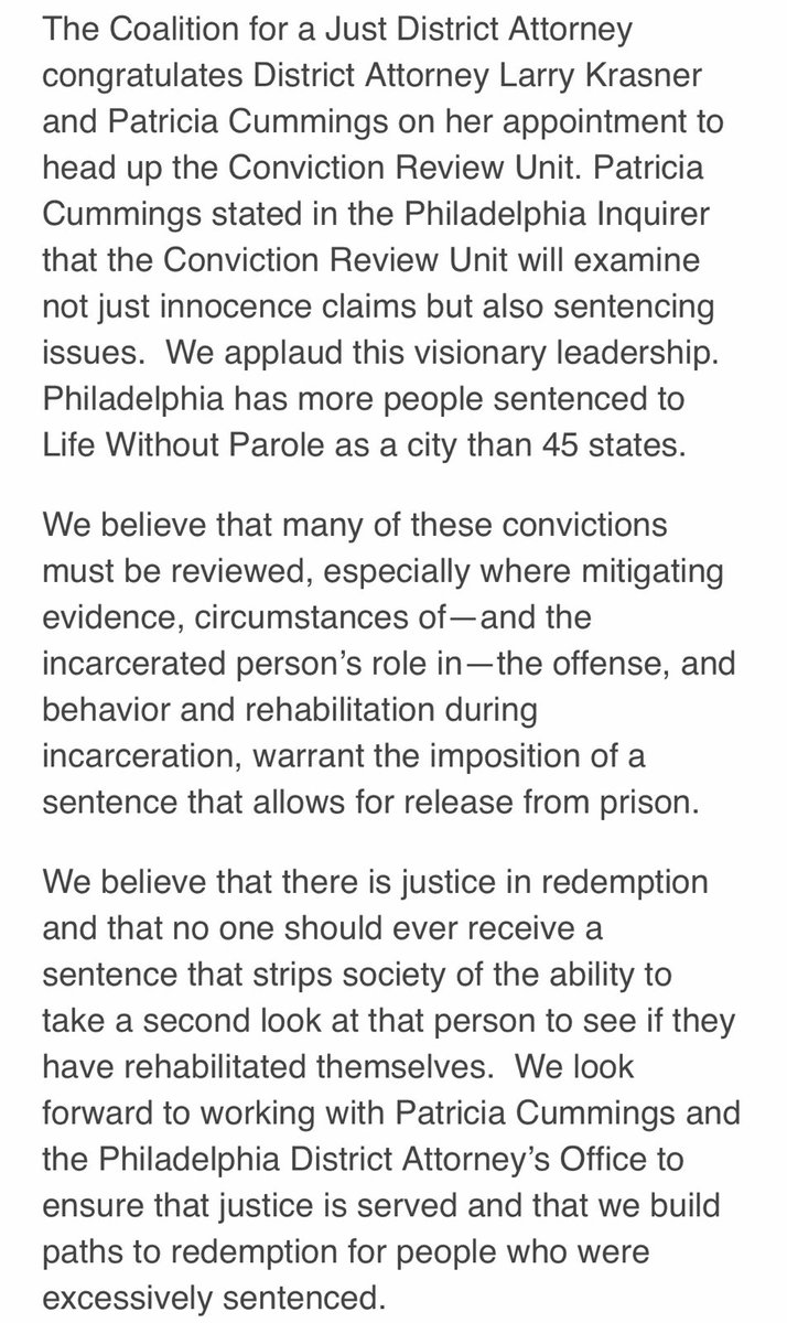 Aclu of pennsylvania aclupa twitter our statement on philadao hiring patricia cummings to head the conviction review unit visionary leadership that expands conviction review beyond innocence aiddatafo Gallery