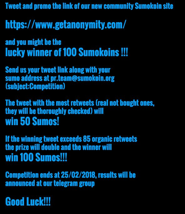 ... Yeap you read it correctly, that's one hundred $Sumo ! Good luck to all  !!! $sumo $btc #sumokoin #bitcoin #Competitionpic.twitter.com/YOXwpvFK9x