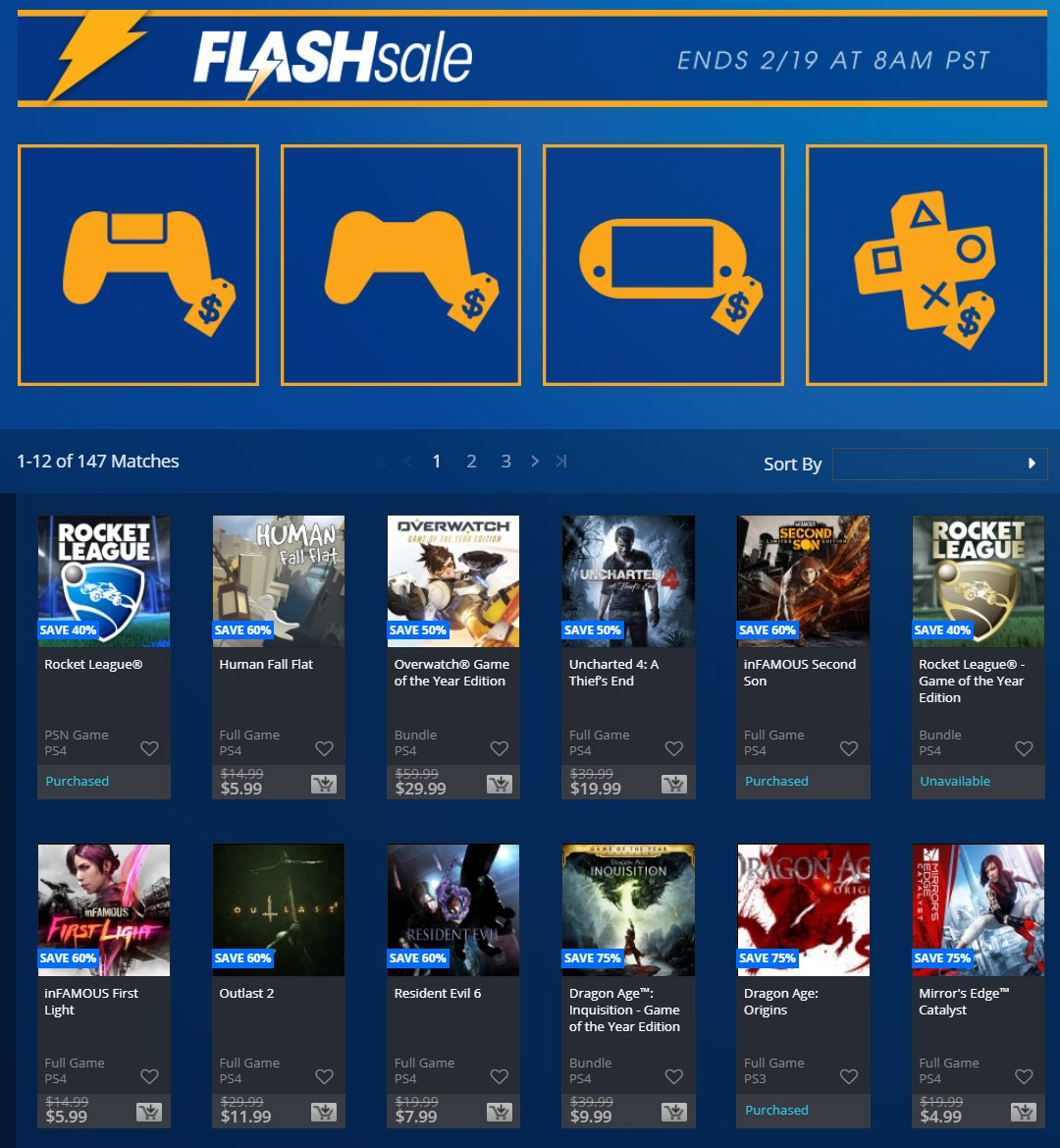 NA PSN has a Flash Sale! Dragon Age GOTY $10  https:// store.playstation.com/en-us/product/ UP0006-CUSA00220_00-DA3GAMEOFTHEYEAR  …  Cyberdimension Neptunia $20  https:// store.playstation.com/en-us/product/ UP0031-CUSA07960_00-CYONMEGAMIONLINE  …  FFXV $20  https:// store.playstation.com/en-us/product/ UP0082-CUSA01633_00-FINALFANTASYXV00  …  GrimGrimoire $2  https:// store.playstation.com/en-us/product/ UP9000-NPUD21604_00-0000000000000000  …  Mass Effect: Andromeda $13.19  https:// store.playstation.com/en-us/product/ UP0006-CUSA02684_00-ME4RECRUITDELUXE  …  More:  https:// store.playstation.com/en-us/grid/STO RE-MSF77008-FLASHSALE18LP/1  … <br>http://pic.twitter.com/OxKIM3F7eT