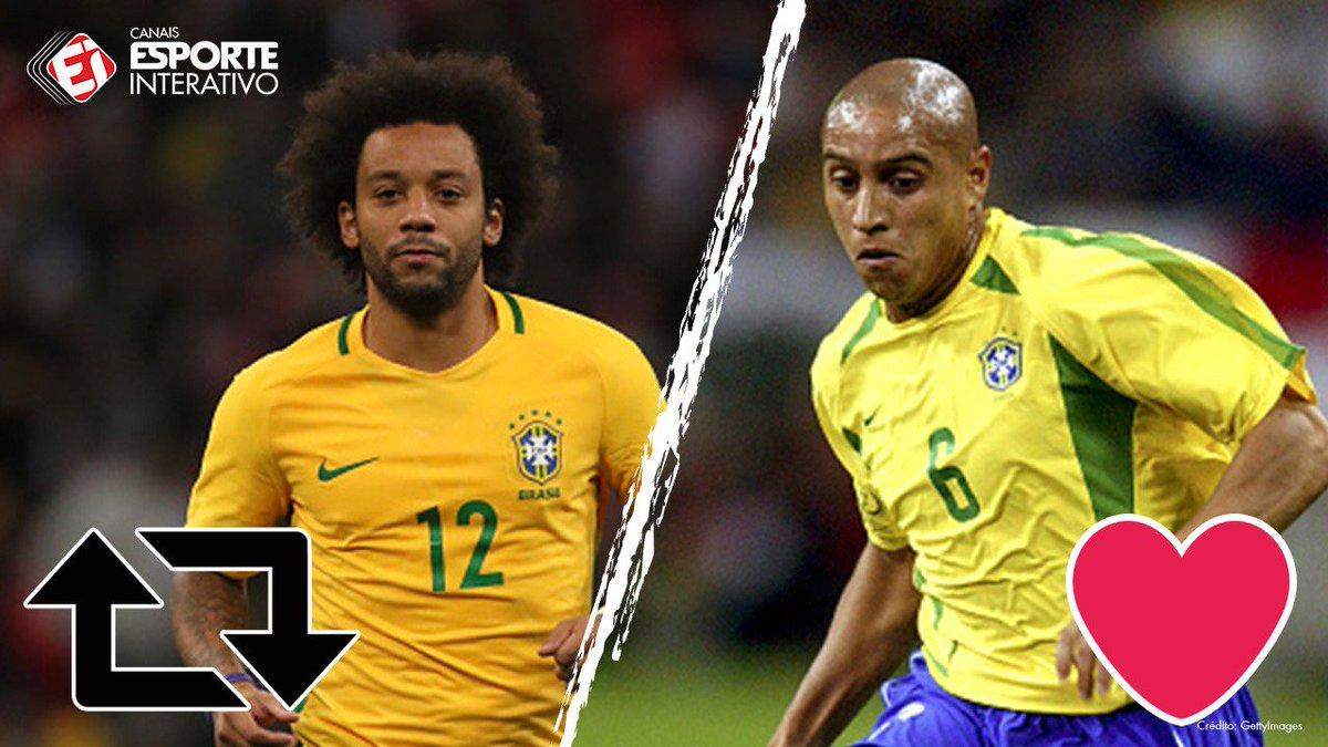 Dois grandes ídolos do futebol brasileiro. Pra você, torcedor, quem é melhor? RT= Marcelo ♥= Roberto Carlos! Vote!