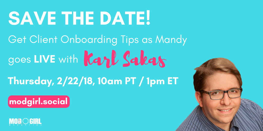 Get tips on growing your #digitalagency fast w/ #client onboarding. Tune into my #FacebookLive interview @KarlSakas on Thursday, Feb. 22.  Join @ModGirlMktg's FB group now to watch: https://t.co/a6s8LzKEWm