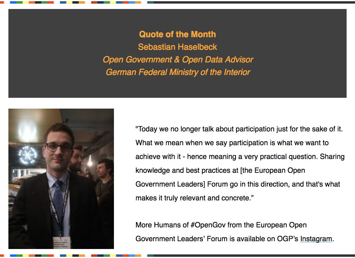'Today we no longer talk about participation just for the sake of it.' Our quote of the month comes from Sebastian Haselbeck - from our Humans of #OpenGov in Italy. #saa2018