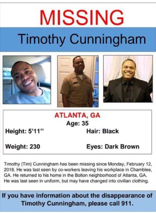 My friend Tim Cunningham hasn't been seen in days. Please call 911 if you have any information about his whereabouts.