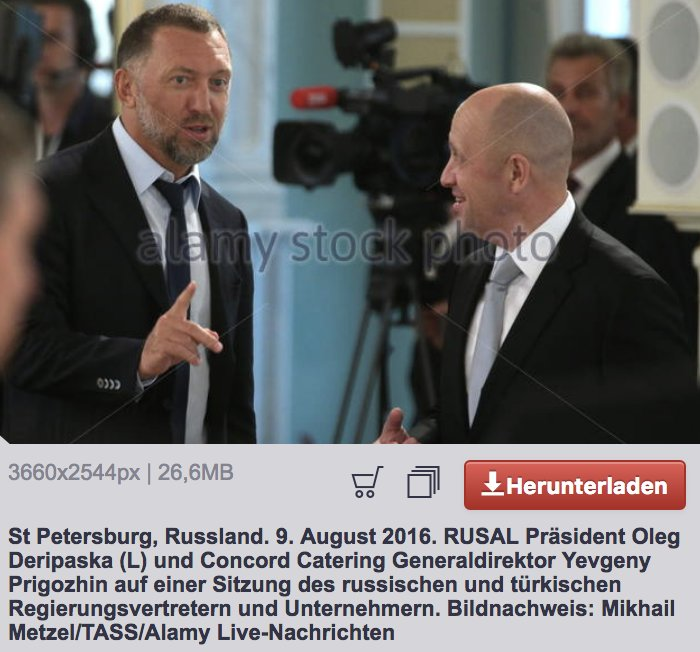 Photo: Russian oligarch Oleg Deripaska, who paid Manafort for his pro-Russia work in Ukraine, is seen in this picture with Yevgeny Prigozhin, who was one of the Russians indicted today by Robert Mueller & Rod Rosenstein. #TrumpColluded
