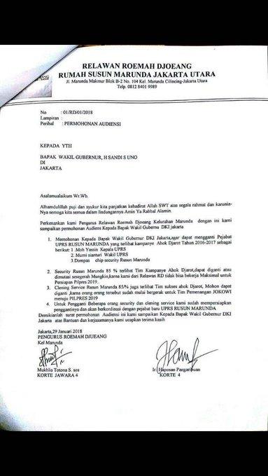 Beredar Surat Pengurus Relawan Rumah Djoeang Rusun Marunda