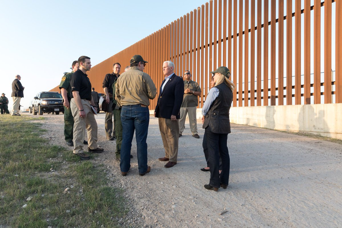 Surveyed border w/ @DHSgov @SecNielsen & @SenTedCruz & thanked @CBP for their hard work to secure our border. Being at the southern border & seeing the work of our border patrol & customs officials underscores the need to BUILD THE WALL to enhance the security of our Nation.