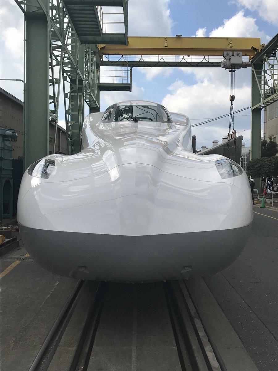 N700S確認試験車。先頭車両(16号車)の外観。 #鉄道 #鉄道ニュース #電車 #東海道新幹線 #新型車両 #N700S #JR東海