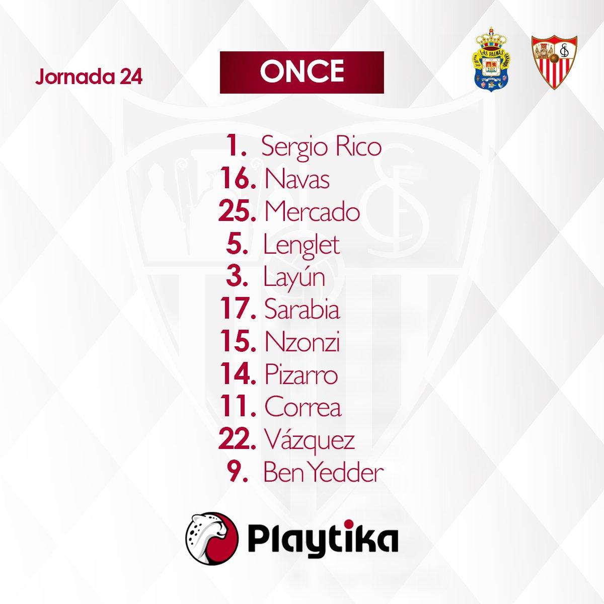 ONCE del #SevillaFC ante la @UDLP_Oficia...