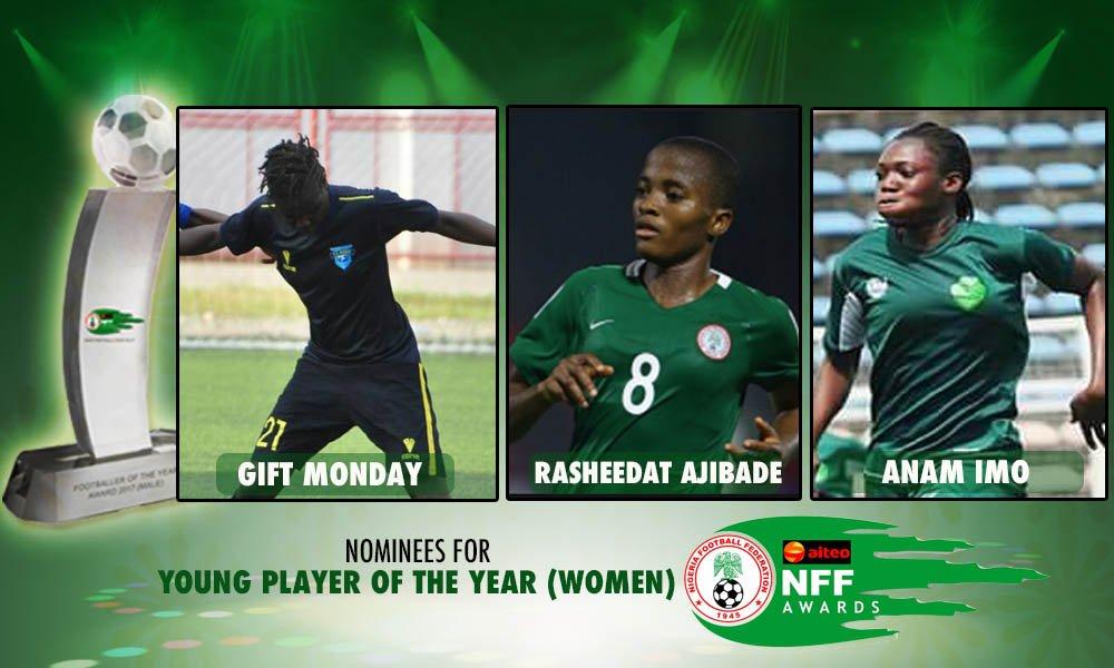 Women's Young player of the Year award: #GiftMonday #RasheedatAjibade #AnamImo  #AiteoNFFAwards2018 #HerosRemembered<br>http://pic.twitter.com/K8zHDQkziI