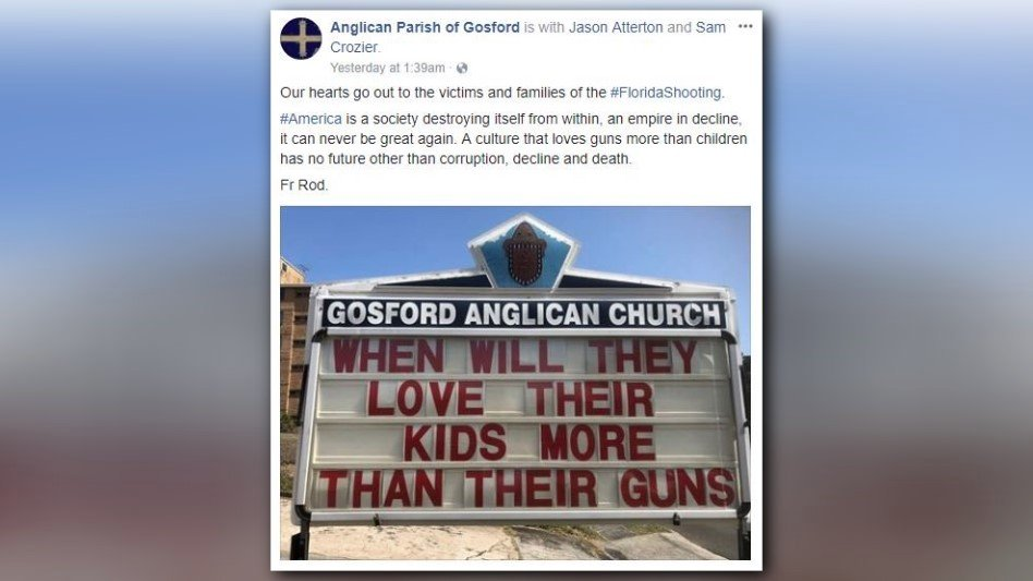 Australian church posts strong message following Florida school shooting https://t.co/WRMRSbJQGf https://t.co/waegOCBVKx