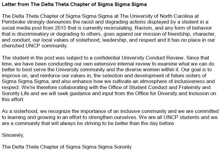 "uncp tri-sigma on twitter: ""delta theta chapter statement… """