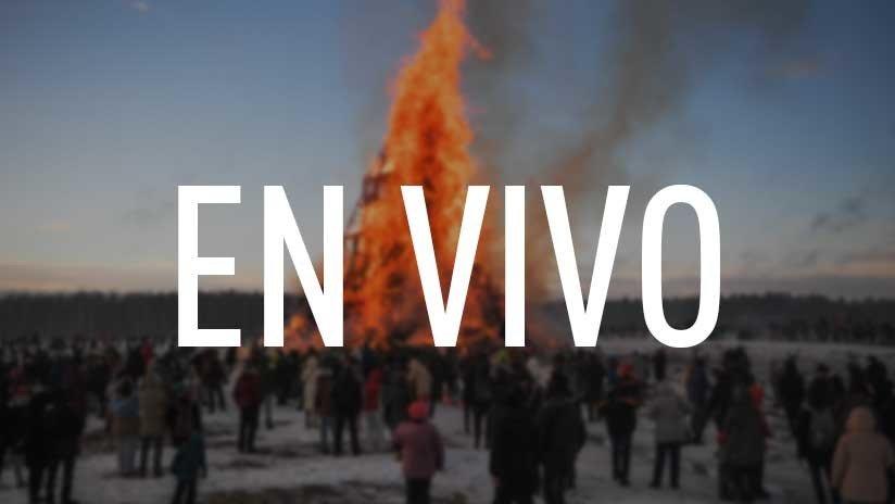 EN VIVO: Queman una enorme escultura en...