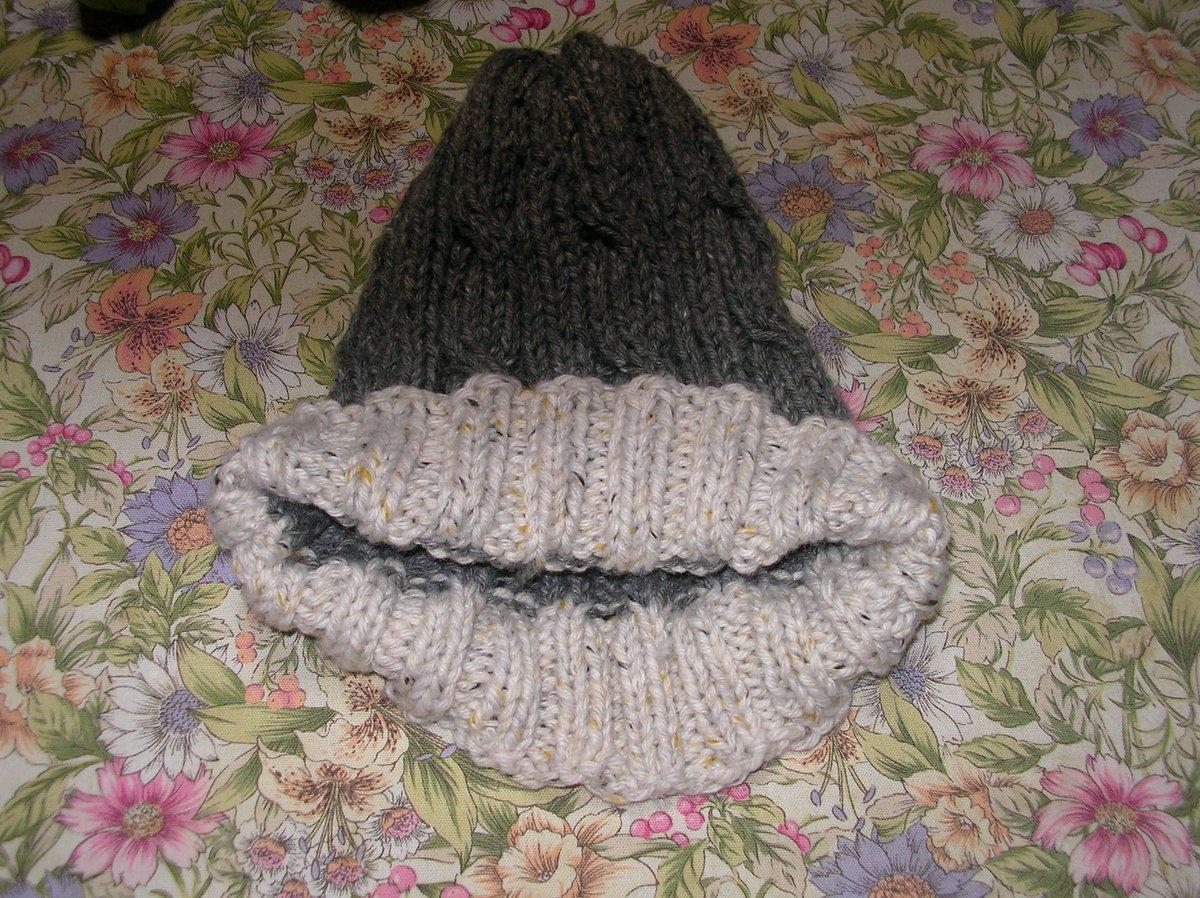 test ツイッターメディア - ツイード毛糸の帽子が約一週間で完成です。ダイソーのツイーディの二色で編みました。減らし目が急なのでちょっととんがっていて、とんがり帽子のメモル風になりました。これは自分の普段使い用です。#ダイソー #ツイーディ #帽子 #編み物 https://t.co/165ivi38GC