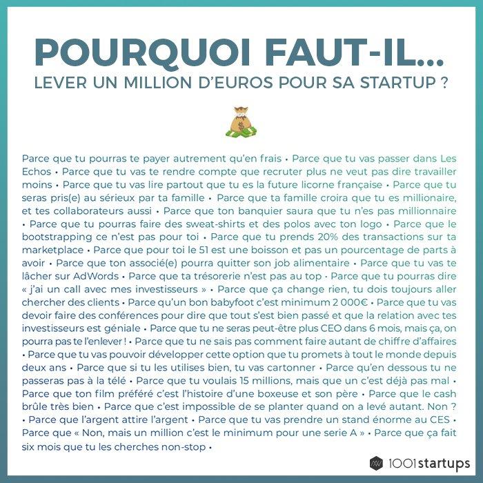 🤑 Pourquoi faut-il lever un million d'euros pour sa #startup ? 🚀