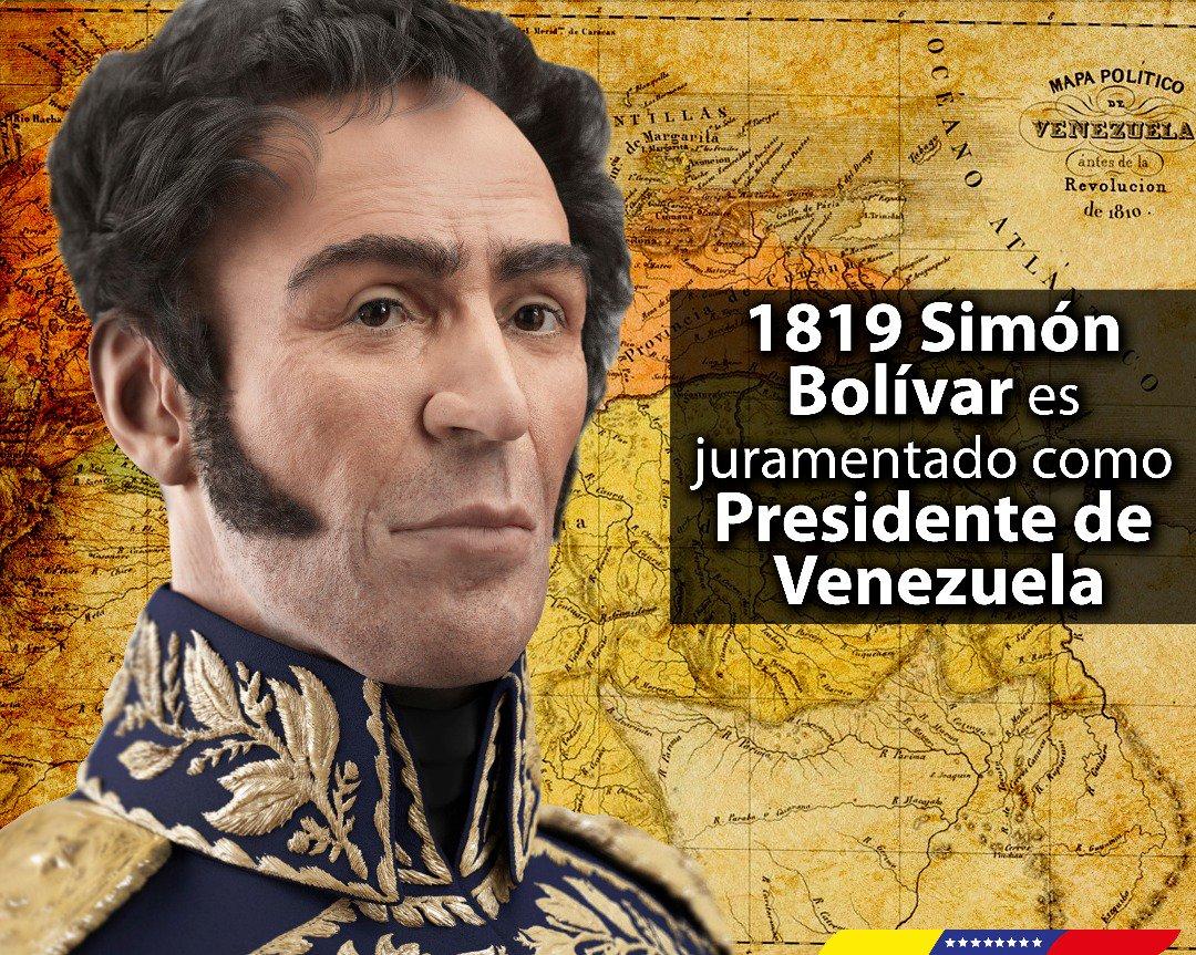 Le 17 février 1819, notre père Simon Bolivar prêta serment d'obéissance totale et absolue à la Patrie. Deux jours après l'installation historique du Congrès d'Angostura, il fut assermenté en tant que Président libérateur de la République du Venezuela. https://t.co/VJ4XmQ2Ijx