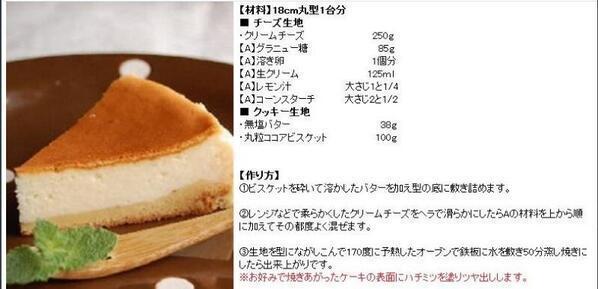ベイクドチーズケーキ ♡不動の人気レシピだよ♡