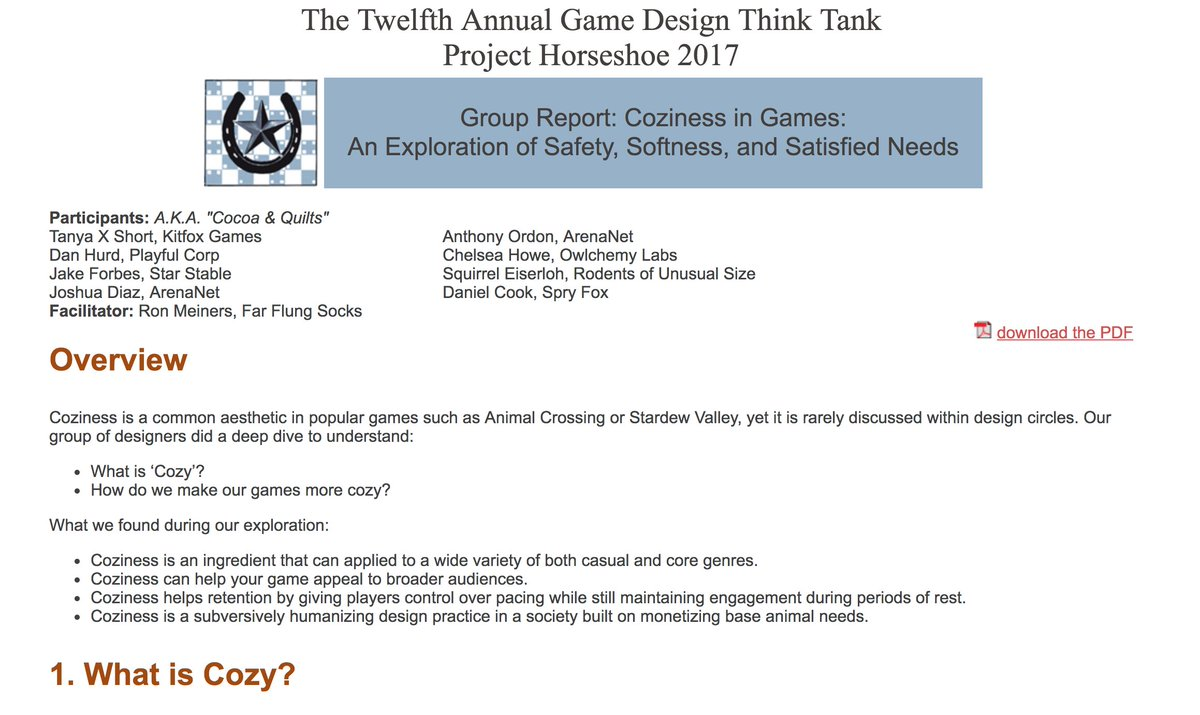 Tyu On Twitter Just Finished Reading This Article On Coziness In - Game design document pdf