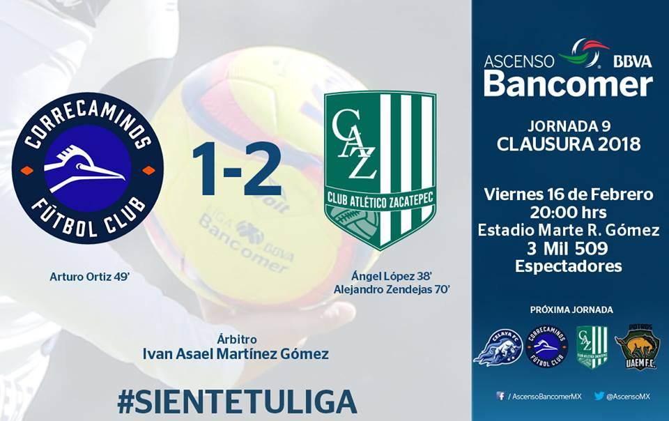 @CFCorrecaminos 1-2 @CA_Zacatepec @AscensoMX #CL2018 #J9 https://t.co/kIYr9c3gOy
