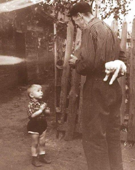'Alguns segundos antes da felicidade.' Garotinho prestes a receber de seu avô um cãozinho como presente de aniversário, em 1955.