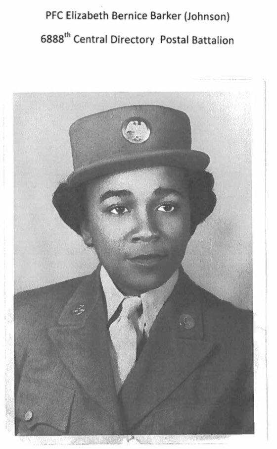 0b14ee52645 ... Central Postal Directory Battalion! Ninety-eight year old Ms. Elizabeth  Bernice Barker was a member of the 6888th from MAR 11