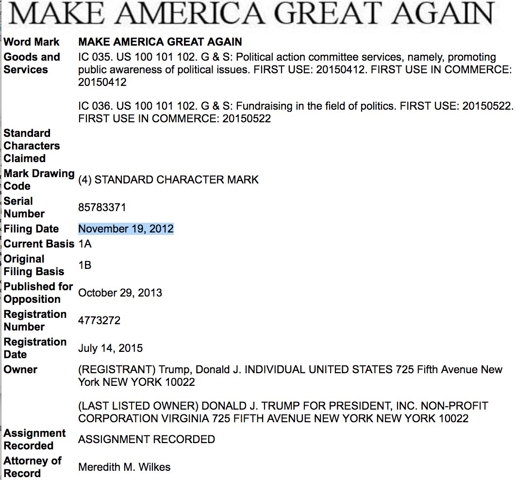 Donald Trump registered 'Make America Great Again' under his own name in late 2012. The trade mark was later assigned to DONALD J. TRUMP FOR PRESIDENT, INC, an entity formed under Virginia law in June 2015.