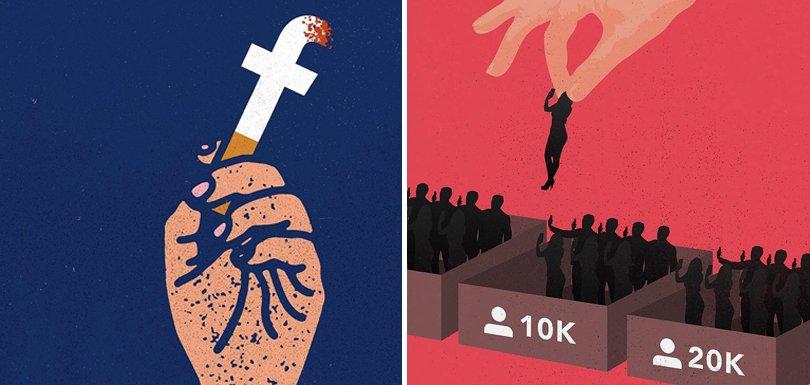 22 illustrations créatives qui dénoncent l'addiction aux réseaux sociaux - https://t.co/ZUxiBU2bUm