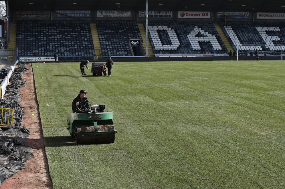 First image of the newly relaid pitch ahead of Rochdale vs. Tottenham.  Surely this is going to suit us a lot more than it is them?  #thfc #coys