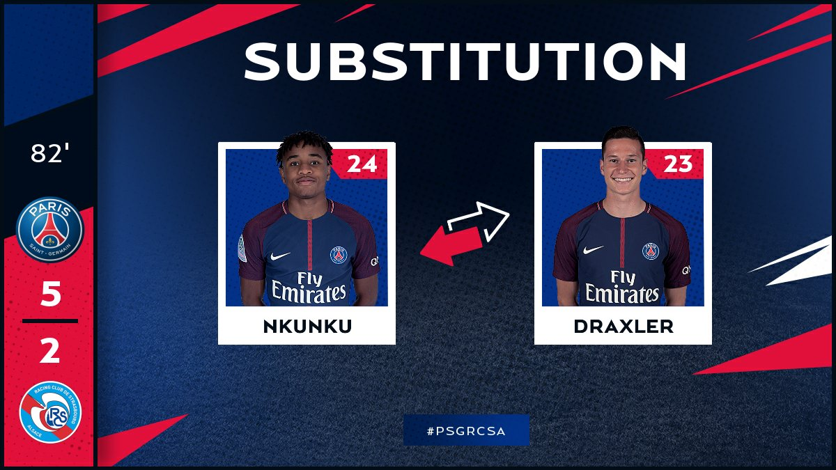 82 Third and final substitution for PSG: @c_nk97 replaces Julian Draxler  #PSGRCSA
