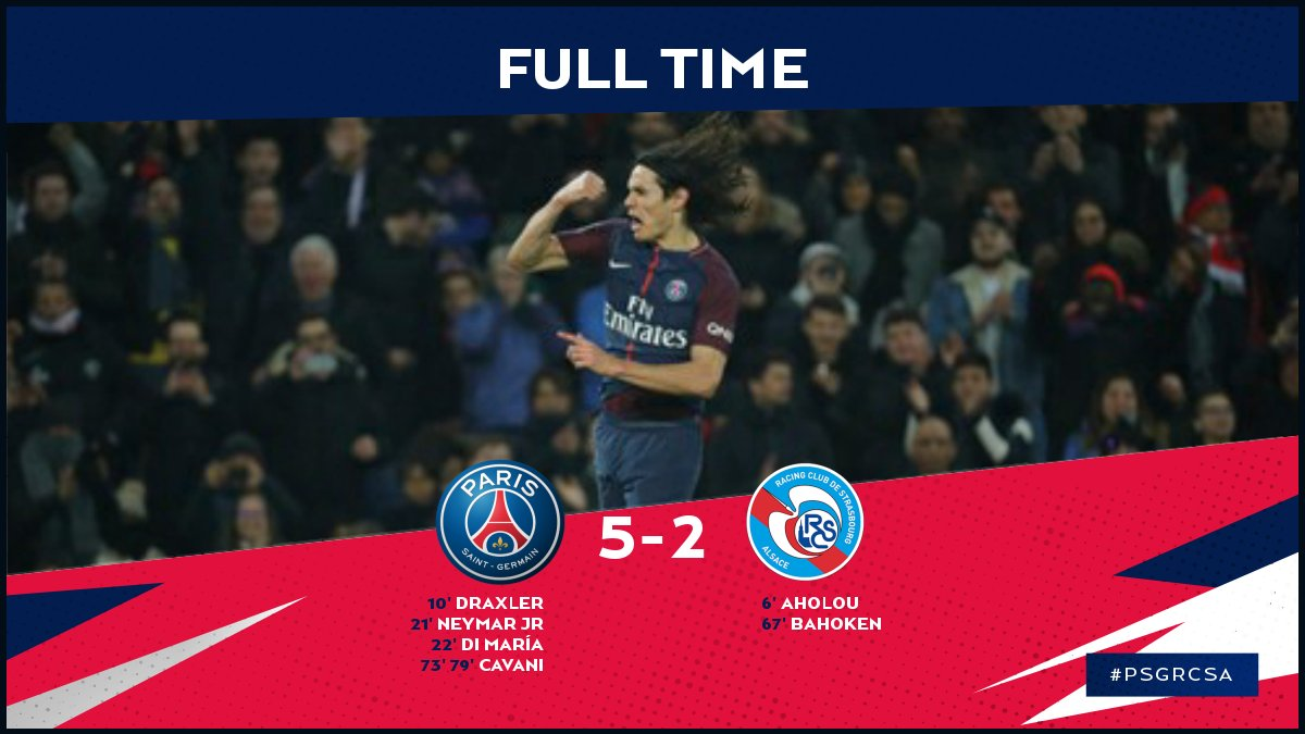 FULL TIME: PSG get back to winning ways with a 5-2 victory over Strasbourg!! #PSGRSCA 🔴🔵