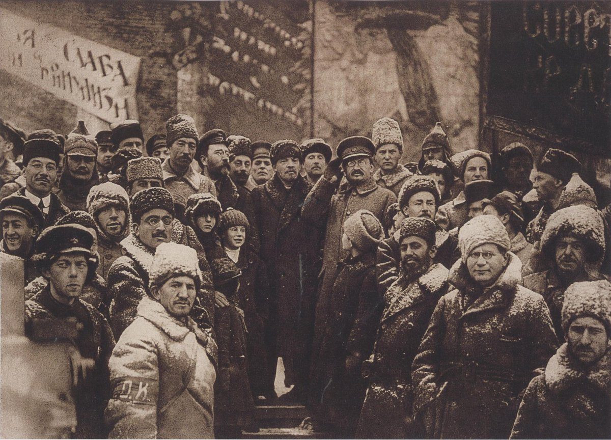 February 1918 - Lenin with secret police head Felix Dzerzhinsky (left) and foreign commissar Leon Trotsky (right) in Petrograd, Russia #100yearsago
