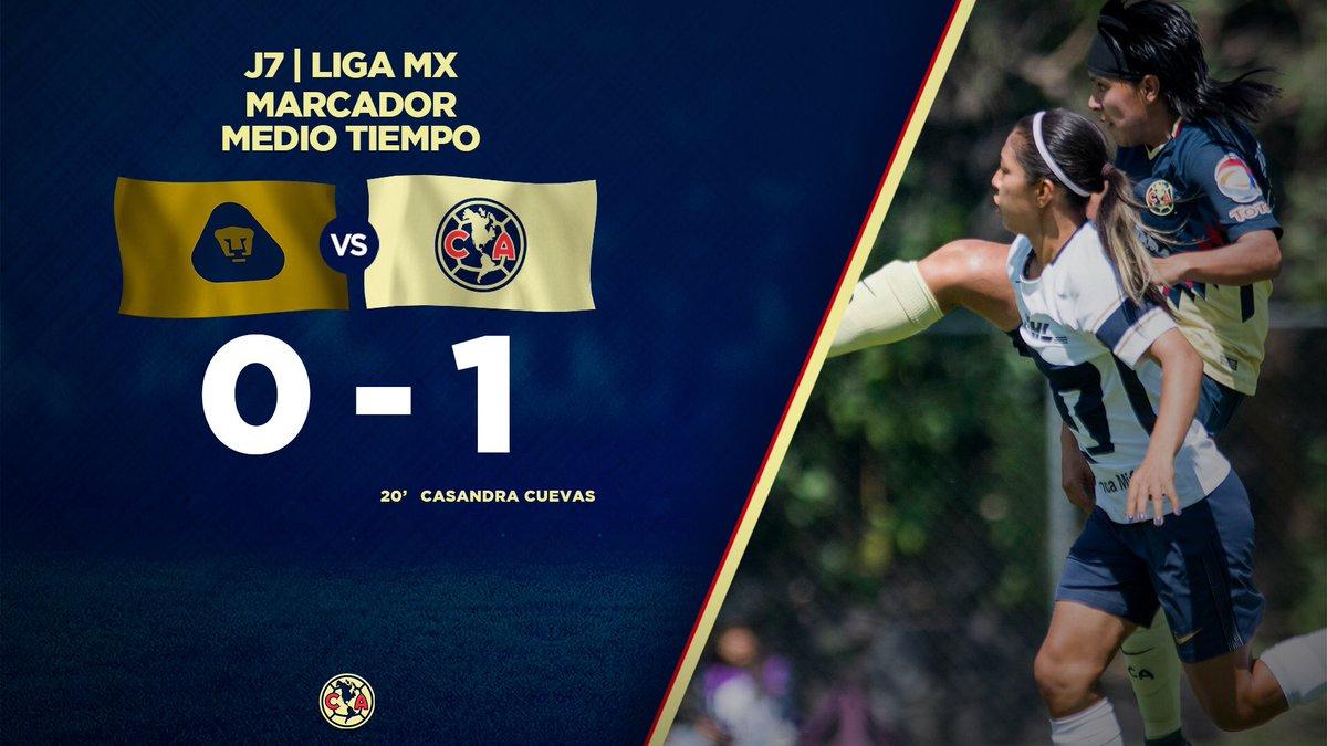 Medio Tiempo:  @PumasMX 0-1 @AmericaFeme...