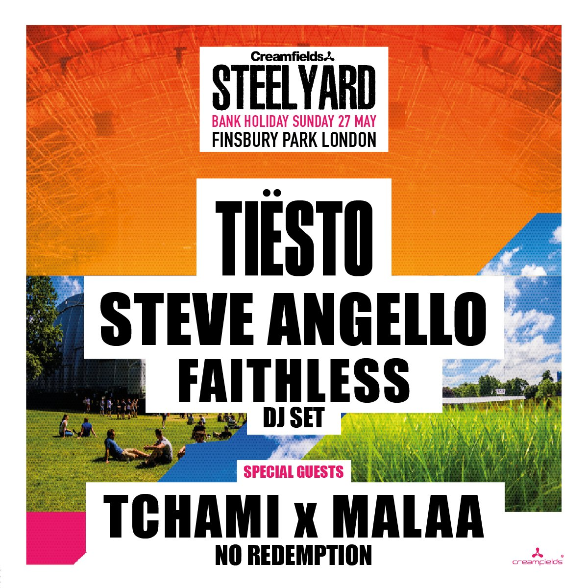 #SteelYardLondon Bank Holiday Sunday 27th May at Finsbury Park with @tiesto , @SteveAngello, @faithless dj set, plus special guests @iamTchami x @Malaamusic No Redemption 👉 https://t.co/7ZgwgD61rb #London