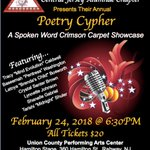 Poetry Cypher 2018 If you missed us last night, you won't want to be left out February 24th as Central Jersey Alumnae Chapter Delta Sigma Theta Sorority Incorporated presents Poetry Cypher A Spoken Word Crimson Carpet Showcase! https://t.co/MQcDfF7vaO #CJADeltas #TheEast #DST1913