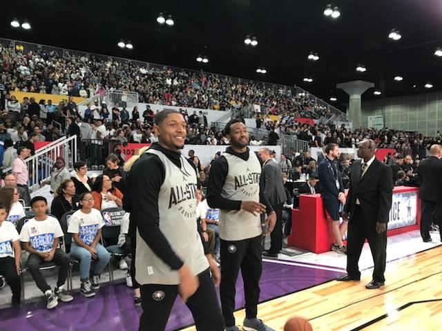 Our #NBAAllStar backcourt, #JohnWall and #BradleyBeal at #TeamLeBron practice  #DCFamily – at Los Angeles Convention Center