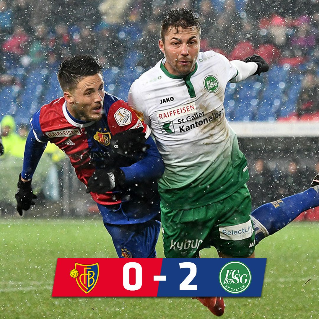 FT | FCB 0-2 @FCSG_1879   For the first time in this millennium, FCB lose two home league games in a row. St. Gallen played more intelligent and deserved the win this evening. @BSC_YB with the chance to go eight points clear tomorrow.  #FCBFCSG #FCBasel1893 #zämmestark