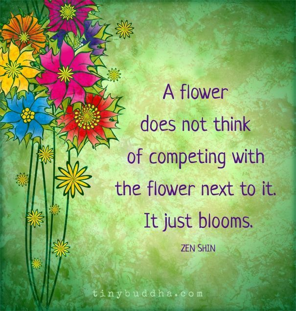'A flower does not think of competing with the flower next to it. It just blooms.' ~Zen Shin