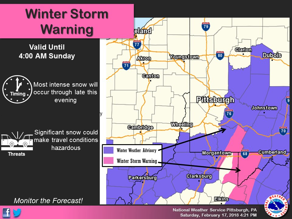 Nws Pittsburgh On Twitter Weve Expanded Winter Weather Advisories - Us-snow-forecast-map