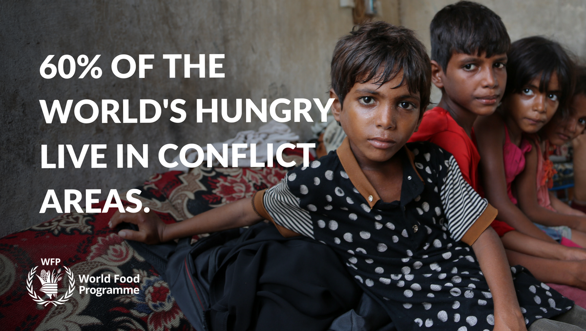 Conflict is driving food insecurity at an alarming rate - 60% of the world's hungry live in conflict areas.