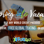 🚨 NEW PROMO ALERT 🚨  Spring into vacay with this awesome deal - perfect for #TravelSeason 🌴  Buy any World Credit package and receive a full month of Global Texting #FREE!