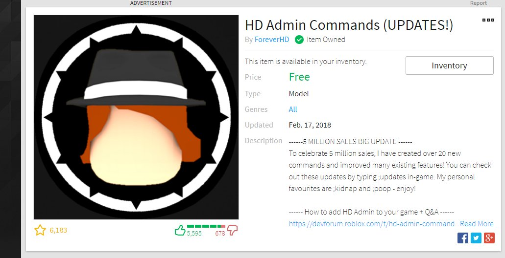 How To Use Roblox Admin Commands 2018 80 Z On Twitter Pokediger1 If You Get The Hd Admin Commands Model And Put It In A Game You Can Use Kidnap Also Poop Too The Prefix Is So Have The