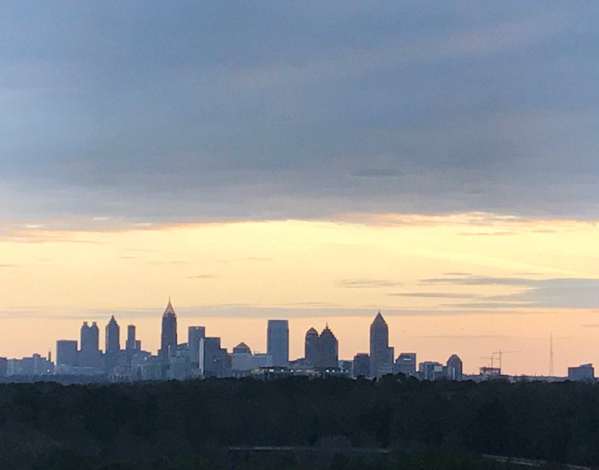 Enjoying a #spectacular Spring-like evening on the front balcony of #smilincondocommand #nofilter #Atlanta #sunset Enjoy your #weekend