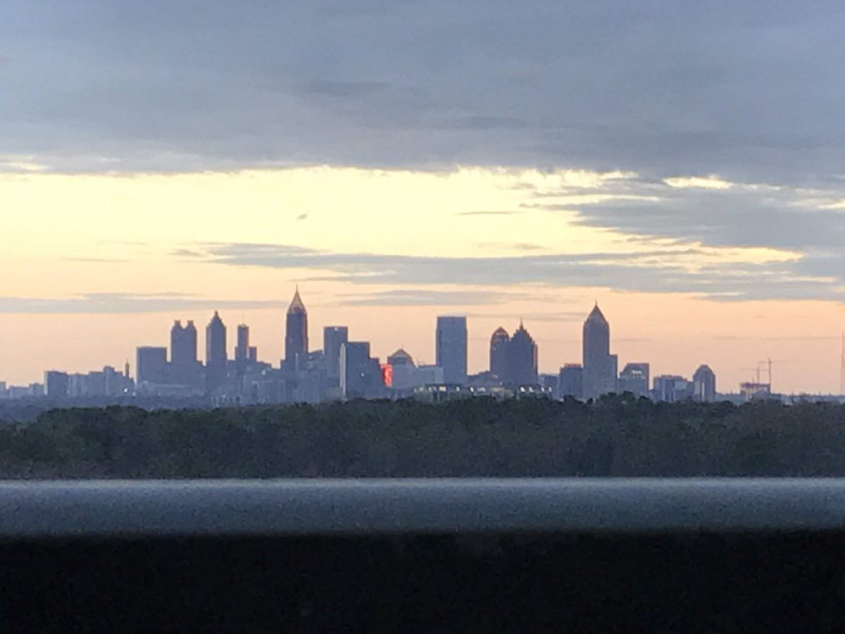 Oh...and then the sun started glancing off the Midtown Atlanta buildings! #balcony #sunset #Atlanta #weekendfun #smilincondocommand
